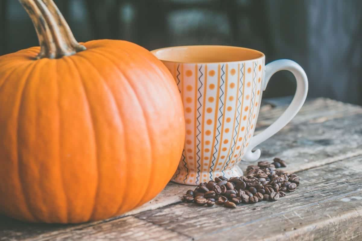 a pumpkin next to a mug