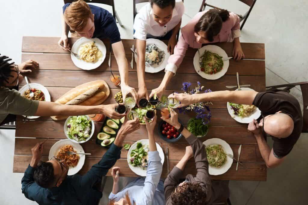 Friends having food