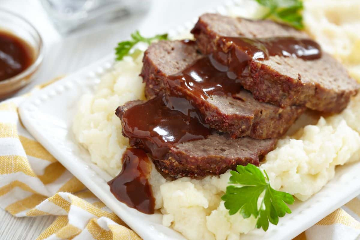 Beef and pork meatloaf with mashed potato