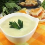 Cream of celery soup with crotons