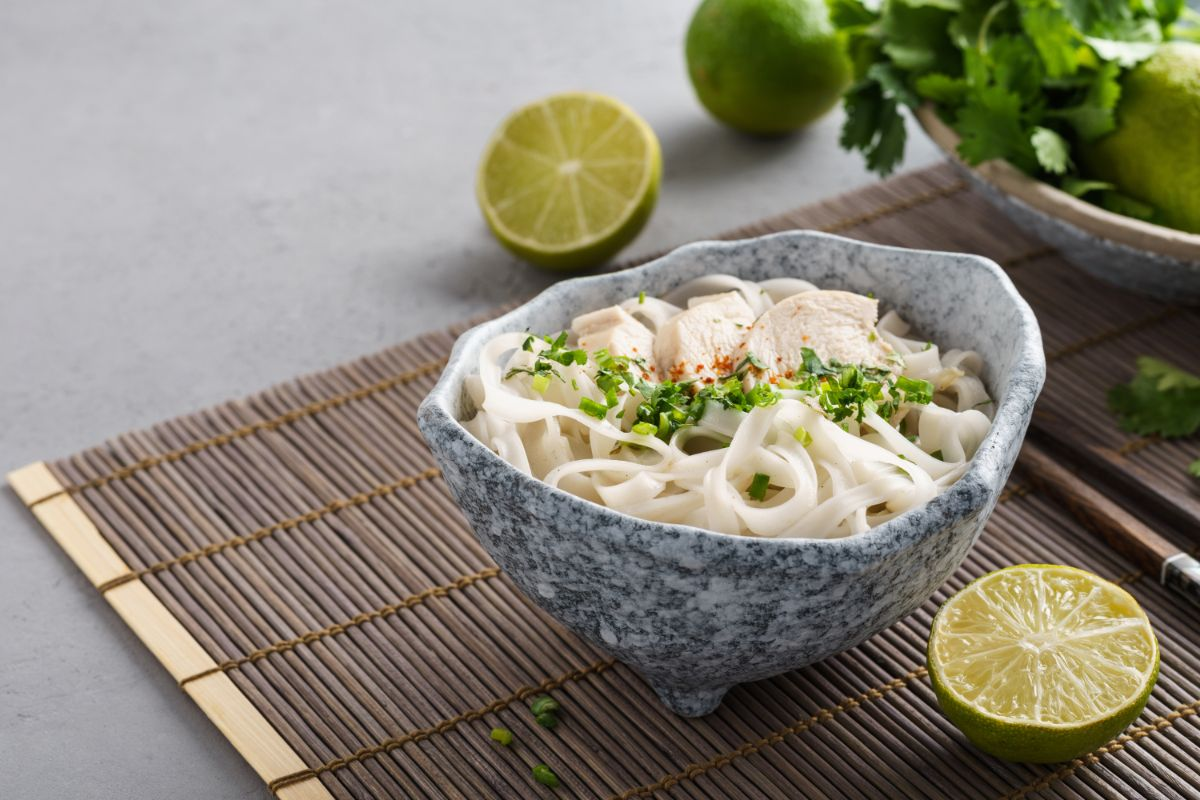 Pho noodle soup with lime