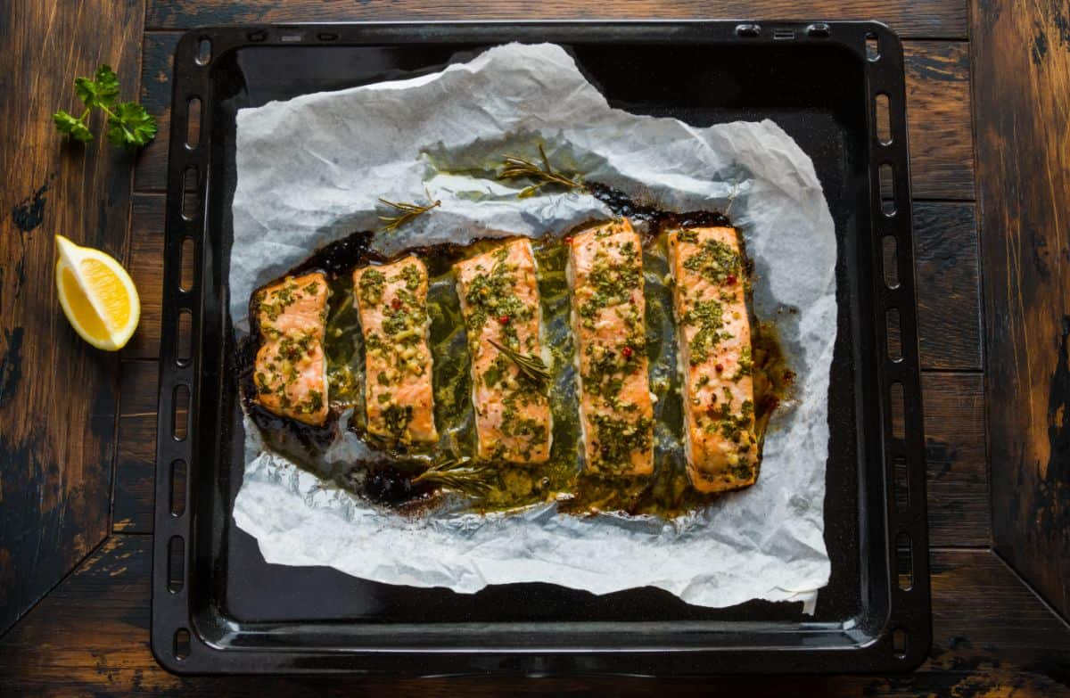 Poached salmon in oven