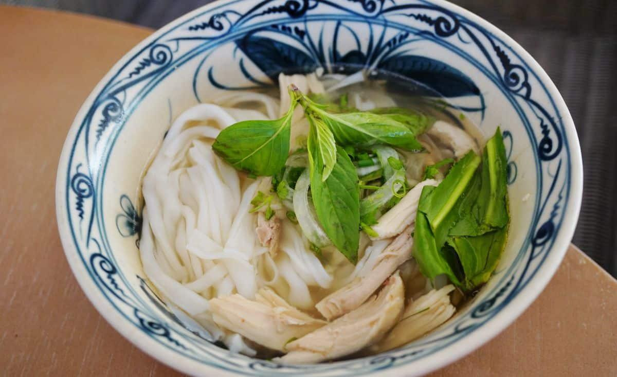 Vietnamese noodle soup with garnish