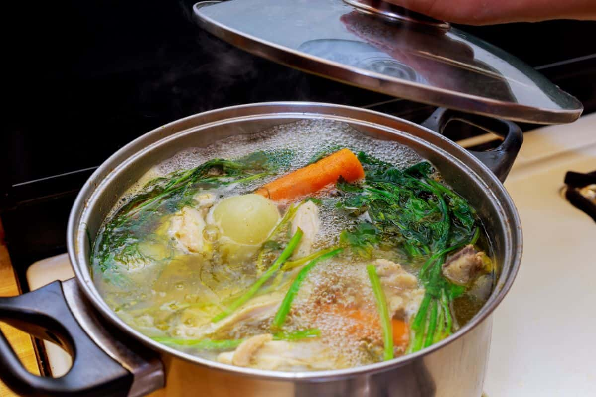 boiling chicken stock