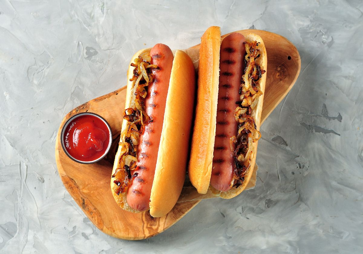 hotdogs with grilled onion