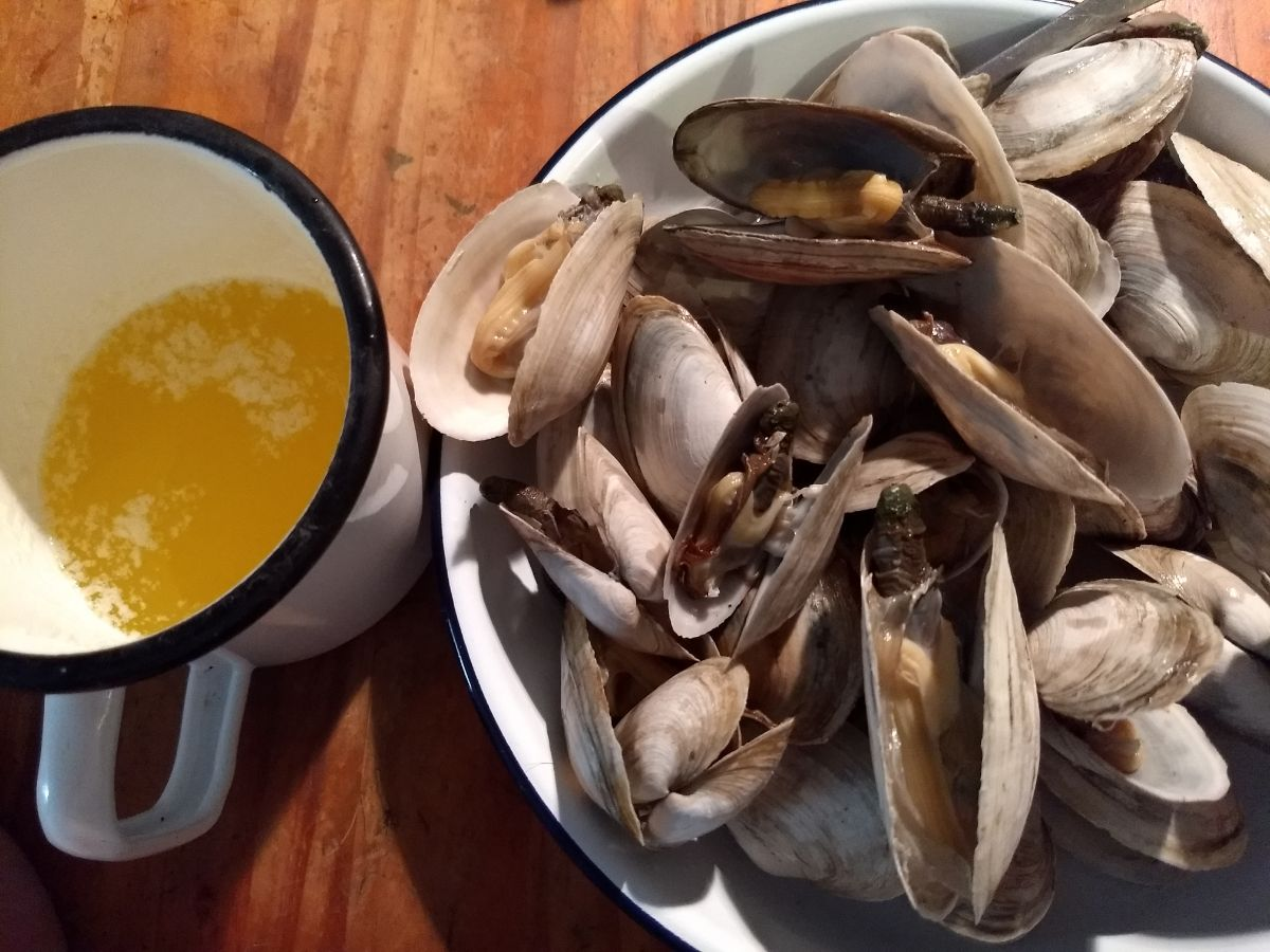 soft shell clams with butter