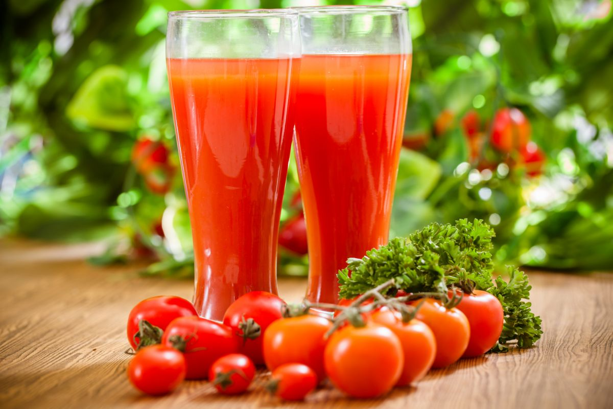 tomato juice on tall glass